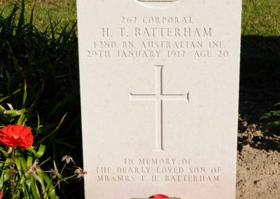 The headstone of 267 Corporal Herbert Batterham at Cite Bonjean Military Cemetery.