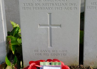 The headstone of 9 Private Francis Brennan at Bailleul Communal Cemetery Extension.