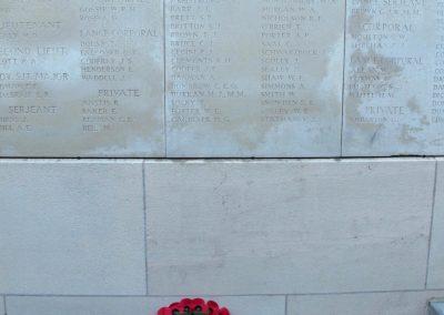 Wreath laid in honour of 4098 Private Stephen Brett at the Ypres (Menin Gate) Memorial.