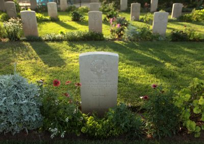 The headstone of 299 Corporal Thomas Browne in the Deir El Belah War Cemetery. Photo by Ashraf Amra