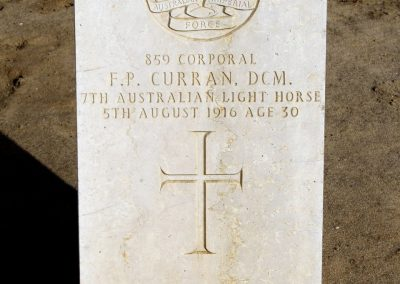 Headstone of 859 Corporal Francis Curran D.C.M. in the Kantara War Memorial Cemetery.