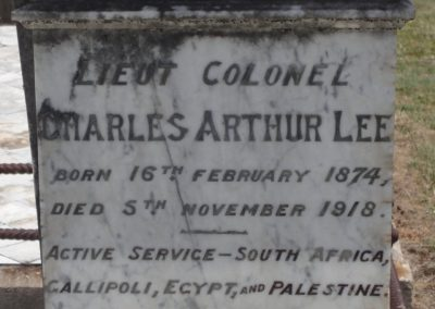 The headstone of Lieutenant Colonel Charles Arthur Lee, Tenterfield Cemetery.
