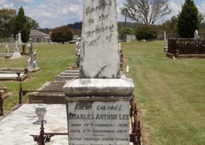 The grave of Lieutenant Colonel Charles Arthur Lee, Tenterfield Cemetery.