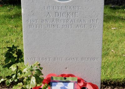 The headstone of Lieutenant Adam Dickie at the Messines Ridge British Cemetery.
