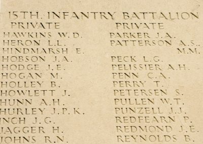 4806 Private Edwin Hindmarsh remembered with honour on the wall of the Australian National Memorial.