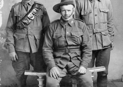 Group portrait of Gunner Ronald Eedy, Private William Eedy, and Lance Corporal George Eedy. AWM Collection P04486.002