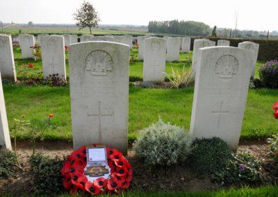 The headstone of 2603 Private Joseph Flynn at Borre British Cemetery.