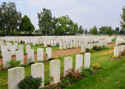 Peronne Communal Cemetery Extension where 6566 Private William Gawith is buried.