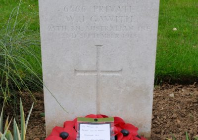The headstone of 6566 Private William Gawith at Peronne Communal Cemetery Extension.