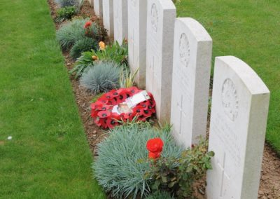 The grave of 6566 Private William Gawith at Peronne Communal Cemetery Extension.