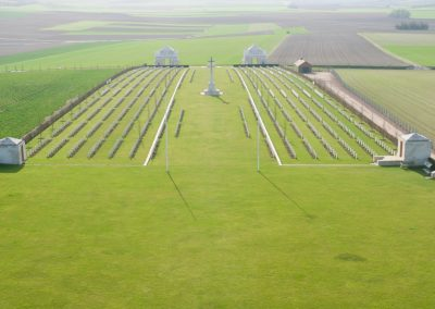 View of the Villers-Bretonneux Military Cemetery from the Australian National Memorial.