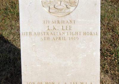 The headstone of 171 Sergeant Lionel Lee at Ismalia War Memorial Cemetery