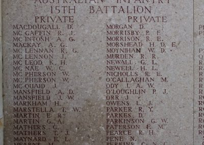 2166 Private Thomas Marstella remembered with honour on the wall of the Lone Pine Memorial, Gallipoli.
