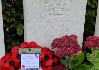 The headstone in memory of 2374 Private Neil McMillan at Villers-Bretonneux Military Cemetery.