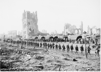Australian troops on their way to the frontline in Ypres on 25 October 1917. AWM Collection E04612