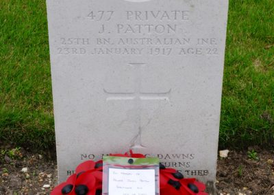 The headstone of 477 Private James Patton at St. Sever Cemetery Extension.