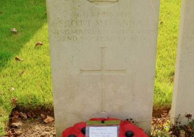 The grave of 607 Private James Scott M.M. and Bar at La Chapelette British and Indian Cemetery.