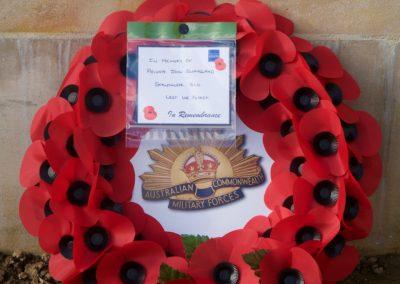 Wreath laid in honour of 2905 Private John Swaysland at the Australian National Memorial.