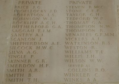 The wall of the Australian National Memorial where 3797 Private Robert Watkinson is remembered with honour.