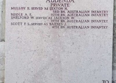 The addenda panel on the Lone Pine Memorial where 894 Private William Shelford is remembered with honour.
