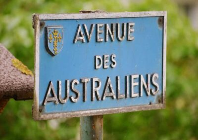 Street sign at the Australian 2nd Division Memorial at Mont St. Quentin.