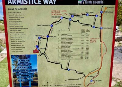 A sign outlining a map of Armistice Way at the Amiens Legacy Centre, Queensland.