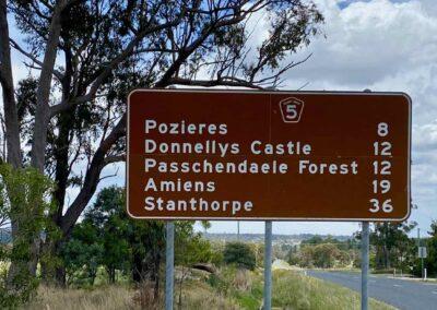 Road sign on the Granite Belt, Queensland, showing towns named after battles of World War I.