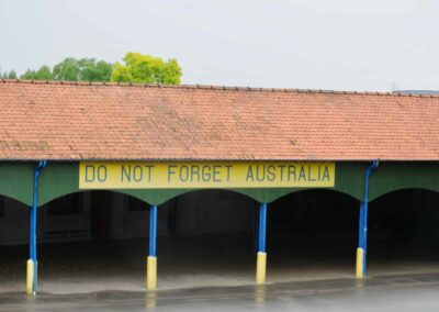 "The "" Do Not Forget Australia"" sign at the Victoria School, Villers-Bretonneux, France."