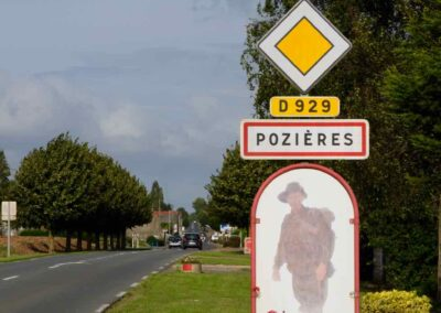 Road sign with an Australian digger at the village of Pozieres, France.