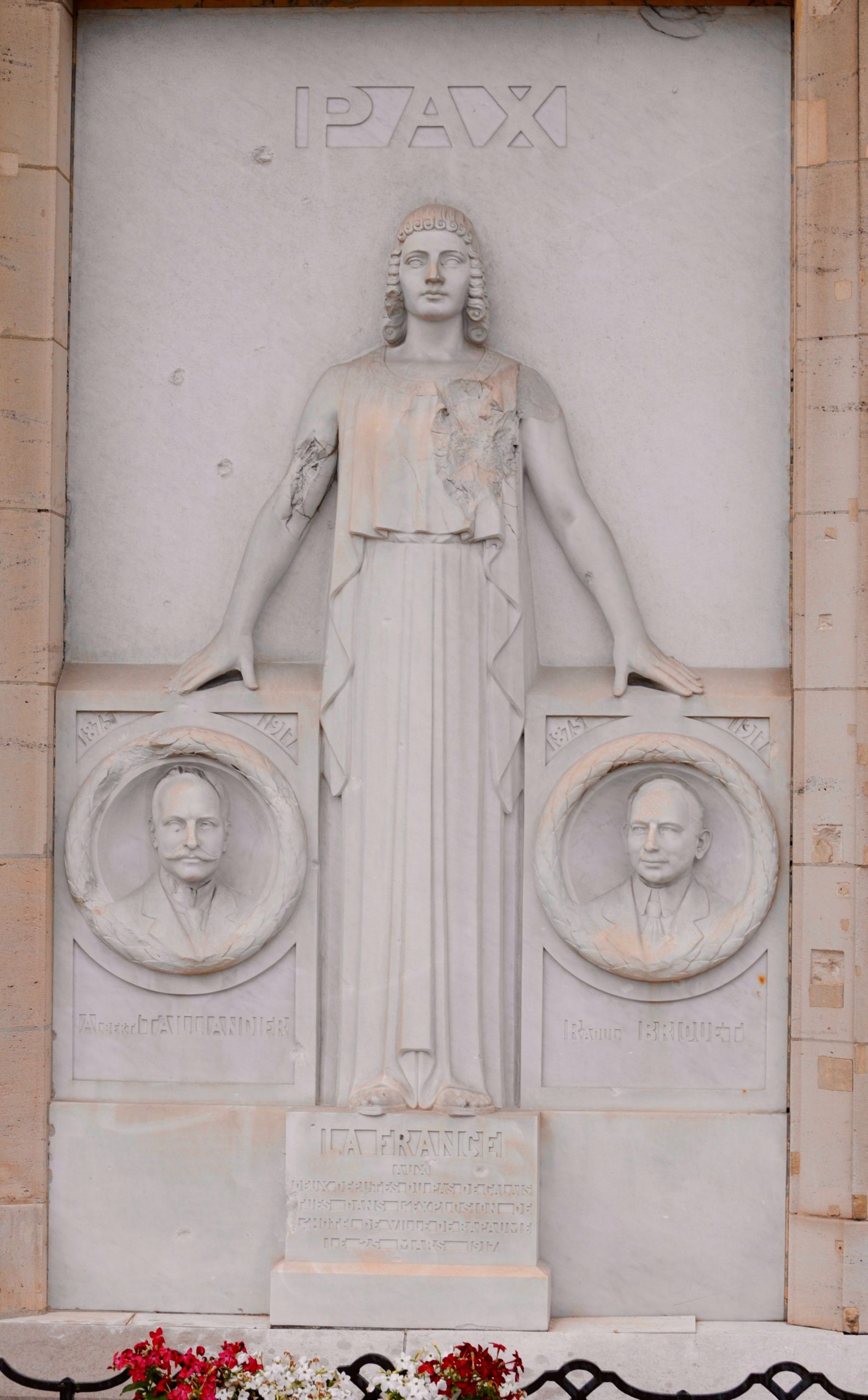 Memorial to the two French parliamentarians killed in the explosion in the Bapaume Town Hall on 25 March 1917 - The Battle of Bapaume - WWI Stories