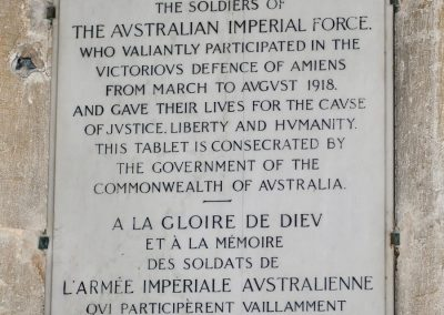 The plaque in the Amiens Cathedral in honour of the A.I.F.