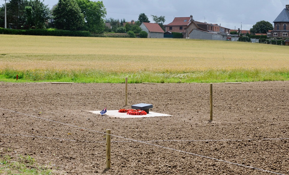 The site of Australian & British war graves discovered at Pheasant Wood - WWI Memorials - Fleurbaix