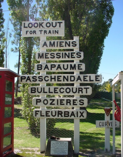 Amiens Branch Railway siding signs at the Stanthorpe Heritage Museum - The Western Front