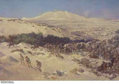 Painting of Battle of Romani by George Lambert, AWM Collection ART09556