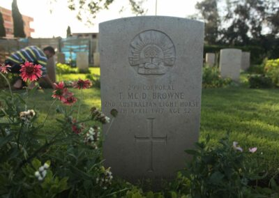 The grave of 299 Corporal Thomas McDonald Browne at Deir El Belah War Cemetery