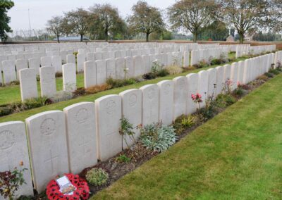 The grave of 456 Private Cecil Bott at Lijssenthoek Military Cemetery.