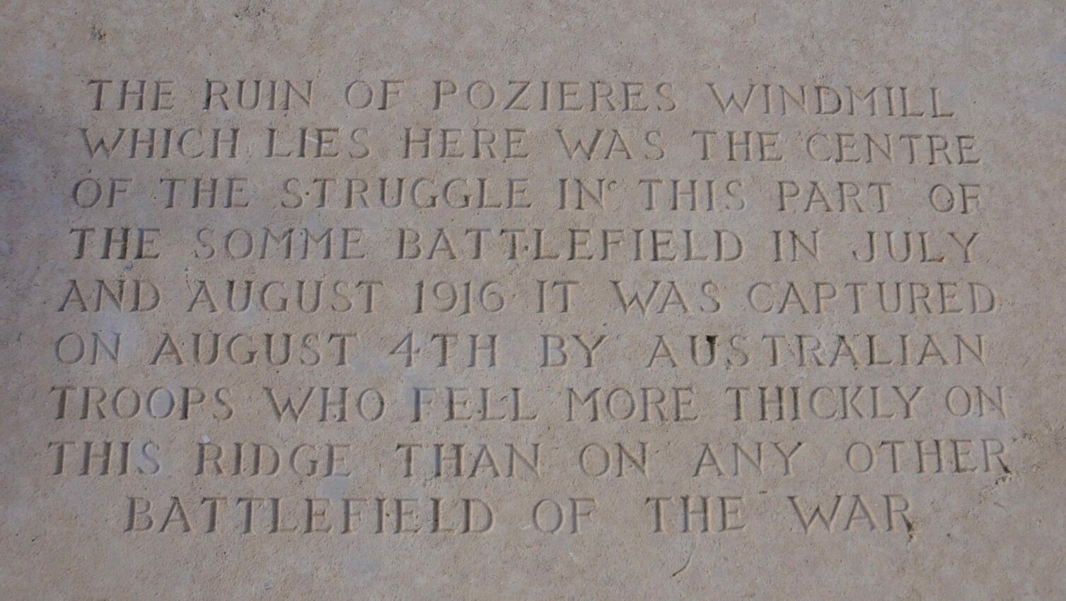 Plaque in honour of Australian troops at the Pozieres windmill - The Australian Memorial, Pozieres Windmill - The Battle Of Pozieres - World War One Battles