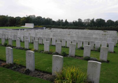 Godewaersvelde British Cemetery, France, where 518 Private Alfred Potts is buried.