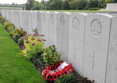 The grave of 518 Private Alfred Potts at Godewaersvelde British Cemetery, France.