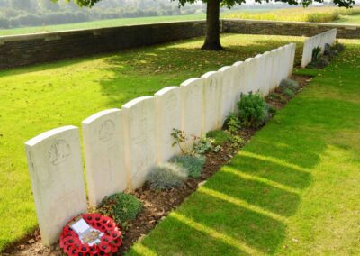 The grave of 607 Private James Scott M.M. and Bar at La Chapelette British and Indian Cemetery, Peronne, France.