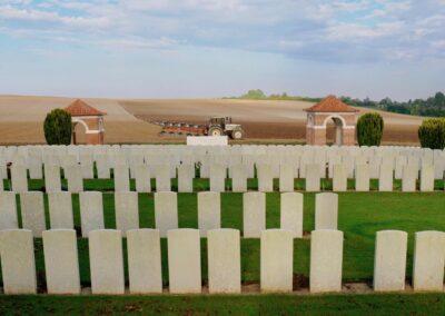 Dernancourt Communal Cemetery Extension, France, where 744/3194 Private Edmund Stewart is buried.