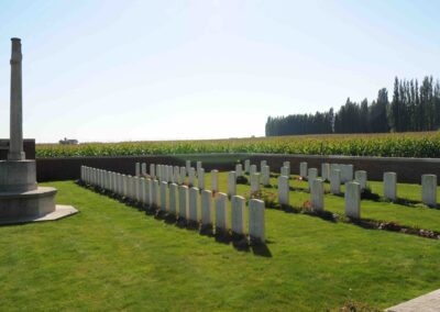 Cabin Hill Cemetery, near Wytschaete, Belgium, where 4362 Private William Reid is buried.