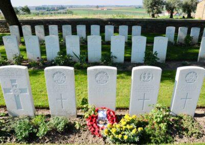 The grave of Lieutenant Adam Dickie at the Messines Ridge British Cemetery, Belgium.