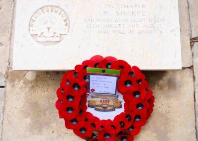 Wreath laid in honour of 795 Trooper William Sharpe at Pieta War Cemetery, Malta.
