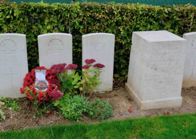 The headstone in memory of 2374 Private Neil McMillan at Villers-Bretonneux Military Cemetery, France.