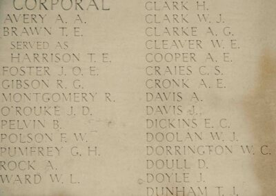 The wall of the Australian National Memorial, Villers-Bretonneux, where 2804 Private Arthur Davis is remembered with honour.