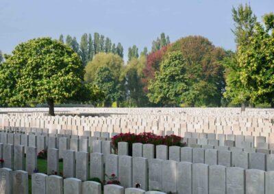 Lijssenthoek Military Cemetery, Belgium, where 456 Private Cecil Bott is buried.