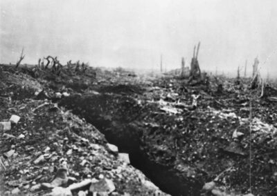 The main street of Pozieres after the heavy bombardment by the British and the Germans. AWM Collection EZ0095.