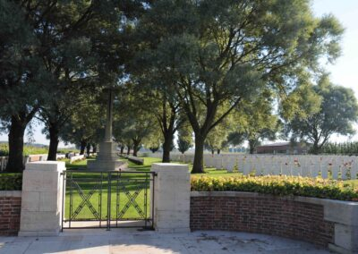 Perth Cemetery (China Wall), Belgium, where 1540 Gunner Ronald Eedy is buried.