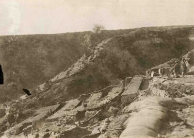 Photograph taken from rear of Quinn's Post looking towards Pope's Hill and Walker's Ridge in 1915. AWM Collection H16897.